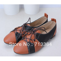 2013 new arrival Plus size shoes flats candy color block decoration lacing shoes vintage british style flat-bottomed  shoes