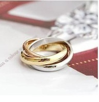 Brand Luxurious White/ Rose Gold Plated Triple Tone Tri-Roll Links Top Classic Design Wedding Band Ring RG005