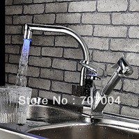 Contemporary Color Changing LED Pull Out Kitchen &Bathroom Sink Faucet Mixer Tap Chrome Finish Swivel Spout Single Lever