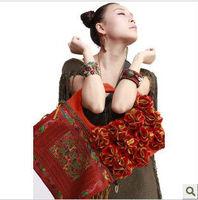 National trend one shoulder cross-body handbag embroidered handmade flower scrub canvas bag