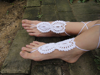 Beach wedding White Crochet wedding Barefoot Sandals, Nude shoes, Foot jewelry, Bridal, Lace, Sexy, Yoga, Anklet 5pcs/lot