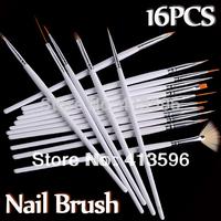 16PCS White Nail Brush Brushes Pen Set Freeshipping