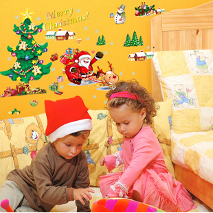 Free shipping Merry christmas PVC DIY Snowman wall stickers Home Decoration