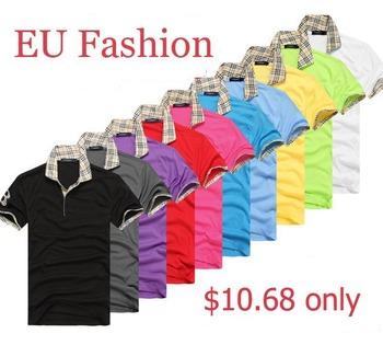 Factory sale EU fashion logo removed  Men's shirt Short Sleeve double collars 10colors M- XXL Free shipping JS002LQ