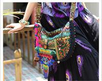 National trend picturecard embroidery small bag messenger bag canvas bag national bag women's handbag