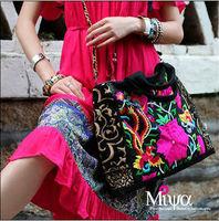 National trend double faced embroidery canvas bag handbag messenger bag national bag