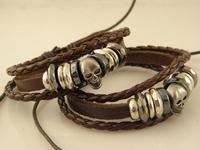 Hot Sale Cheap Mens Skull Leather Charms Bracelets leather bracelets Wholesale Mix Order
