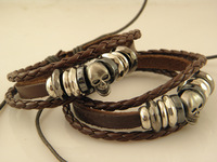 Min order $20 Cheap Mens Skull Leather Charms Bracelets leather bracelets Wholesale Mix Order