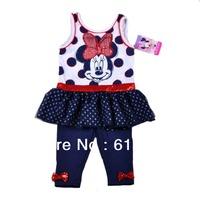 new 2014 girl summer dress baby girl clothing set minnie kids brand clothes children clothes baby sleeveless tutu dress+leggings