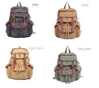 Hot sale Vintage Men's Womens Casual Canvas Leather Hiking Backpack Unisex Rucksack shoulder Bookbags travel Bags 7 color
