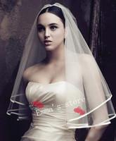 Free Shipping Hot Sale 2014 New Fashion Cheap 1T White Ivory Fashion Wedding Bridal Pearls Ribbon Edge Veil
