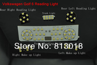 Free shipping 1set Volkswagen VW Golf 6 2009~2012 MK6 Reading light, 5050SMD LED Golf Six dome light