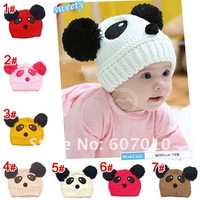 1pcs Free shipping 100% cotton baby Knitted cap Warm hat gift Children's hats Panda style hat (7 colors)