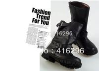 lady flat black short biker boots flat women black PU army boots lady fashion short military combat boots shoeslace