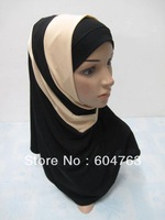 HT004 Assorted colors Newest Fashion PATCHWORK ISLAMIC HEADSCARF two pieces hijab free shipping