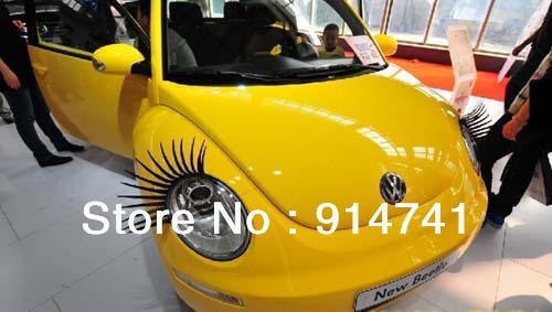 OPP Pack 3D Car Charming Black False Eyelashes Sticker,Car Headlight Eyelashes Decorations Accessories China Post Free Shipping(China (Mainland))