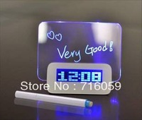 FREE SHIPPING USB led message clock fluorescence alarm clock with memo board&calendar&4 port hubs