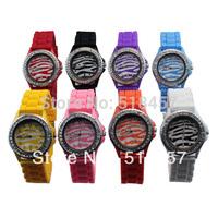 Vivid Colorful Zebra stripe Women Jelly Silicone Quartz Wrist Watch Free Shipping