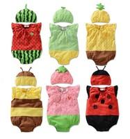 Kids Baby Bodysuits +Hats Fit 0-2Yrs Girls Boys Children Sleeveless Bodysuits Cartoon One-Piece Clothing 18Pcs/lot 6Color 3Size