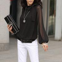 Fashion Chiffon lantern sleeve loose long-sleeve shirt blouse top elegant Sexy women's female 4xl xxxl 5xl large plus size DFW24