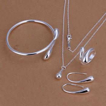Lose Money Promotions! 925 silver jewelry set, fashion jewelry set Droptear Ring Earrings Bracelet Necklace Jewelry Set S222