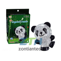 Freeshipping Light Panda Puzzle,3D  Crystal  Puzzle Decoration Panda Puzzle IQ Gadget Hobby Toy Gift