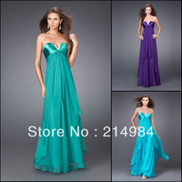 Free Shipping Purple/Turquoise/Emerald Sexy V-neckline Chiffon Long Prom Party Formal Evening Dresses 2014 Vestido De Baile
