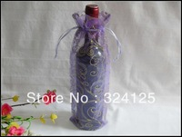 Free shipping wholesale 100pieces 35x14cm purple pattern wine bottle organza bags wedding party candy gift bags