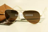 hotselling top quality brand men women rb aviator sunglasses rb3025 001/3E golden metal frame dark brown pink with original box