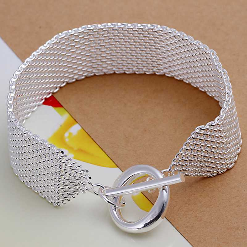 Free shipping 925 sterling silver jewelry bracelet fine fashion net O link bracelet top quality wholesale and retail SMTH004(China (Mainland))