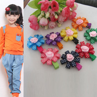 Colorful Dot Flower Baby Girl Fashion Hair Clips Children Hair Accessories Mix 8 Color
