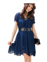 Free Shipping 2013 Summer Short-Sleeve Beading  Maxi Size Women Vintage Dress+belt women dresses  fashion XL XXL XXXL XXXXL