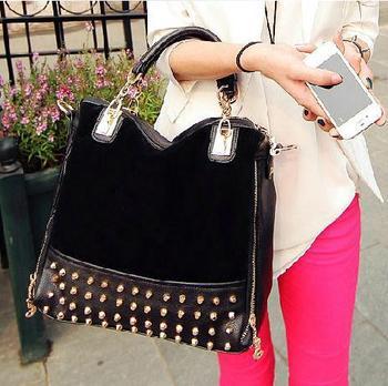 rivet patchwork shoulder handbags women bags designers handbags high quality messenger bag leather bags 2014