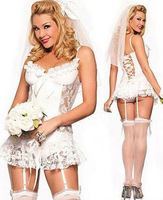 White Lace Wedding Simple designs Bride Dress and G-string Headdress (three piece) 8167 moban