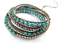 2014 6mm blue turquoise bead wrap bracelet new design handmade wrap leather bracelet 5pcs/Lot Free Shipping