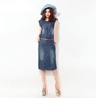 New Fashion Denim Vintage Cute Dress 2013 Summer Autumn High Street Active Women's  Casual Party Stylish Women Dresses~