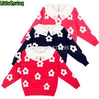 XLS LittleSpring Retail girls clothes thicken sweater kids warm outerwear flower turn down collar clothing girls clothes