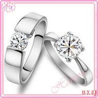 Free shipping Fashion jewelry 925 pure silver platinum cubic zircon mind act upon mind lovers ring wedding ring RG23
