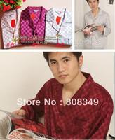 Free Shipping Men's Silk  Pajama Sets For Men Sleepwear Shirt Sleep Night Gown Robe Sets L/XL/XXL Rice/ Blue/ Gray/ Red Wine