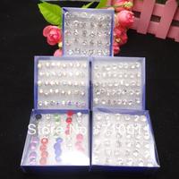 Free Shipping-Cheap Wholesale Korea Style Anti Allergy Plastic Needle Shining Rhinestone Exquisite Stud Earring,10boxes/lot