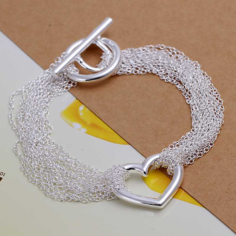 Free shipping 925 sterling silver jewelry bracelet fashion thick net heart bracelet top quality wholesale and retail SMTH066(China (Mainland))