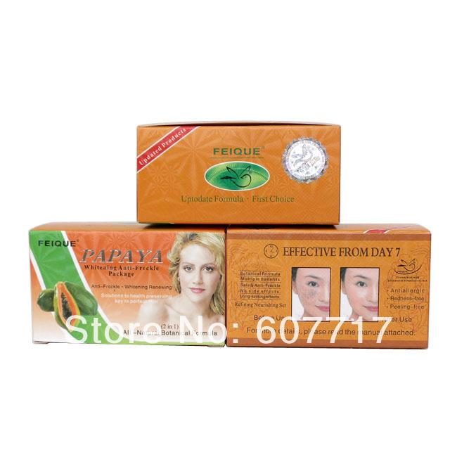 wholesale PAPAYA Whitening anti freckle natural botanical formula skin care day cream+night cream(China (Mainland))
