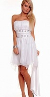 White Satin Bandeau Off Shoulder  Cocktail Dresses Chiffon Rhinestone Drop Shipping Cheap Price 6116