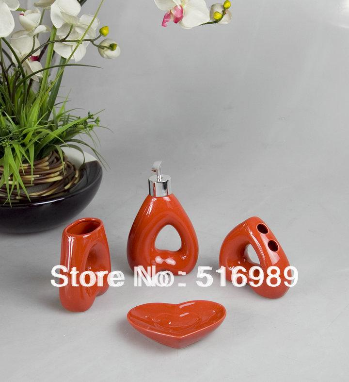 Free Shipping Modern Design 4pcs Ceramic Bathroom Accessory Set Beautifull Flower A-189(China (Mainland))