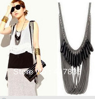 2013 new free black gem tassel drop necklace for women Free Shipping