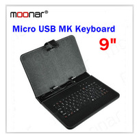 Fashion Universal Micro USB Keyboard Faux Leather Cover Case For 9 inch Tablet PC Black DA0169