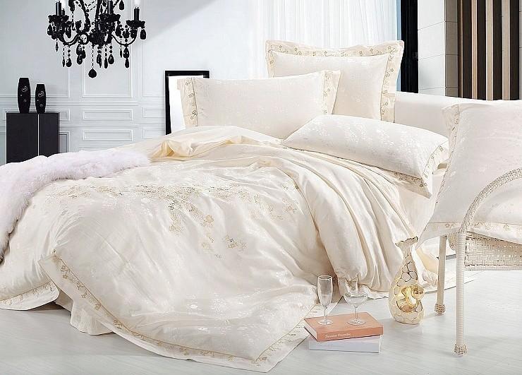 luxury jacquard bedding set queen king 4pcs beige tribute