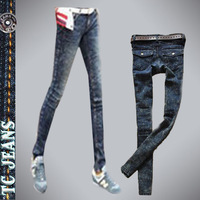 [TC Jeans] 2012 new arrival vintage flip pocket blue elastic jeans pants pencil pants skinny pants boots pants