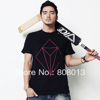 free shipping 2013 non-mainstream personality geometric figure slim t-shirt male o-neck short-sleeve T-shirt