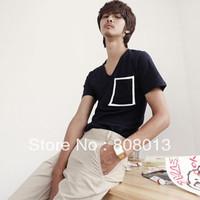 free shipping T-shirt nan boys short-sleeve male t slim black V-neck short-sleeve T-shirt